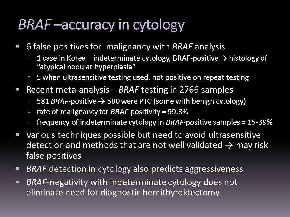 BRAF –accuracy in cytology