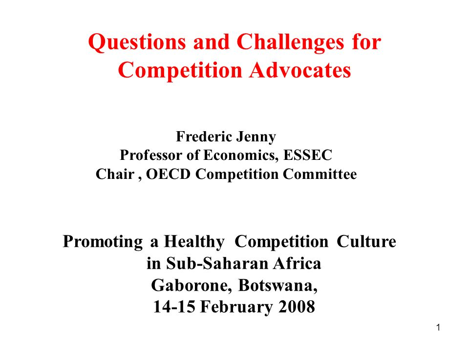 Questions and Challenges for Competition Advocates
