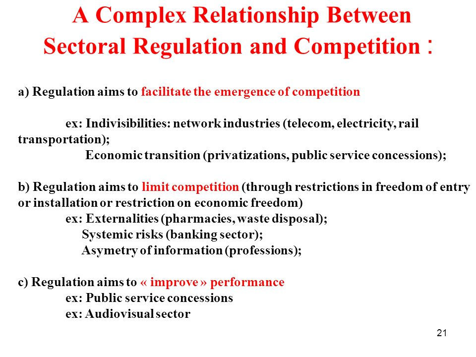 A Complex Relationship Between Sectoral Regulation and Competition :