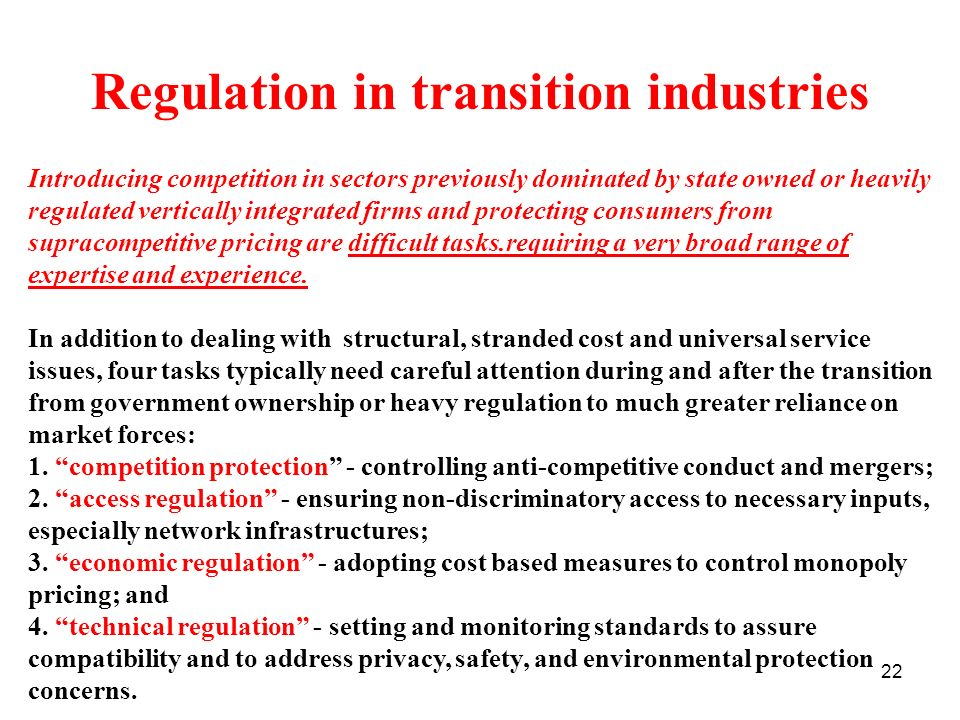 Regulation in transition industries