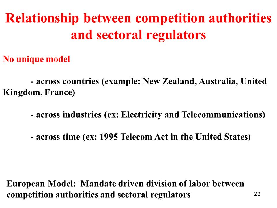 Relationship between competition authorities and sectoral regulators