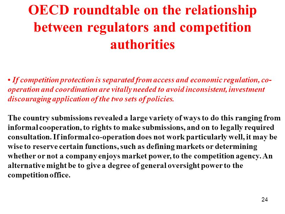 OECD roundtable on the relationship between regulators and competition authorities