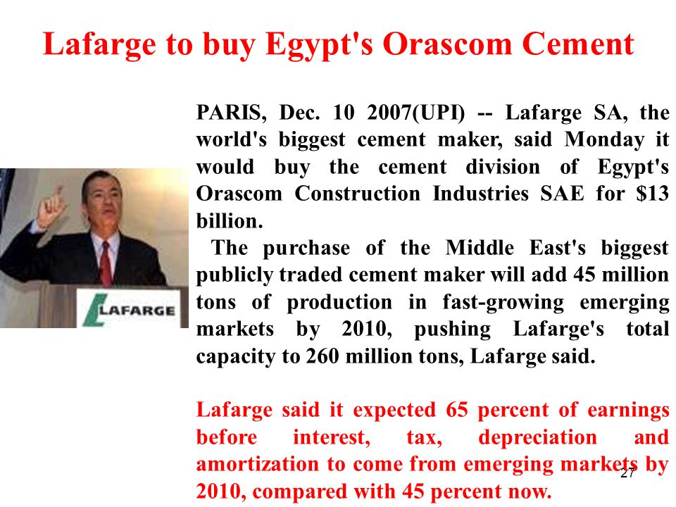 Lafarge to buy Egypt s Orascom Cement