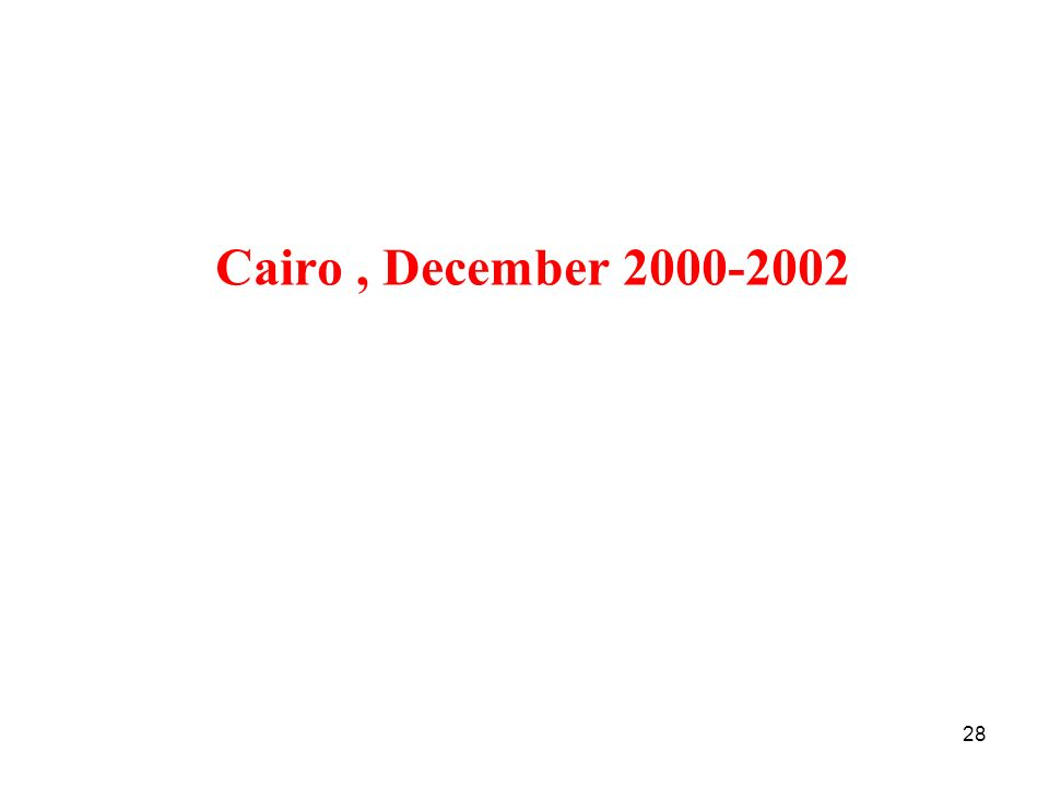 Cairo , December 2000-2002