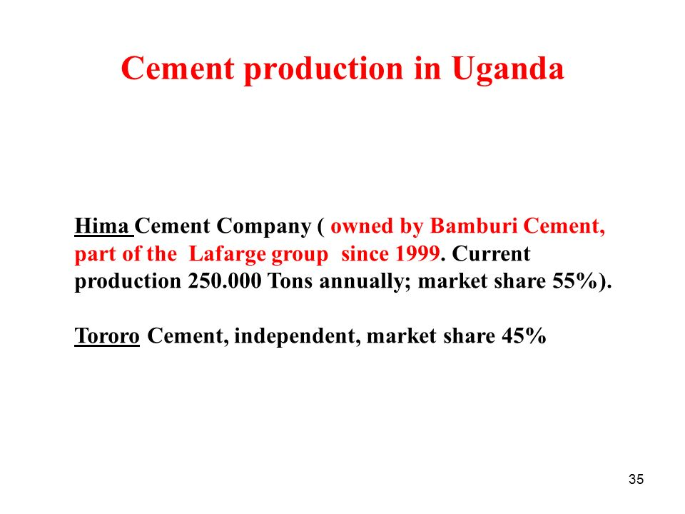 Cement production in Uganda