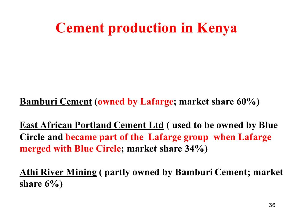 Cement production in Kenya