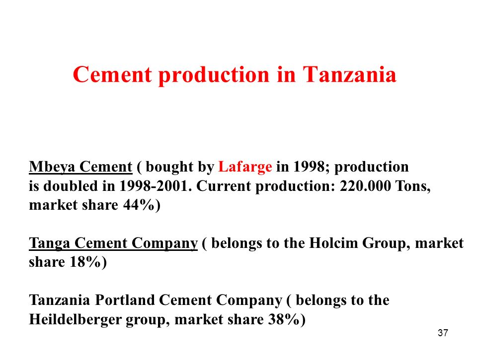 Cement production in Tanzania