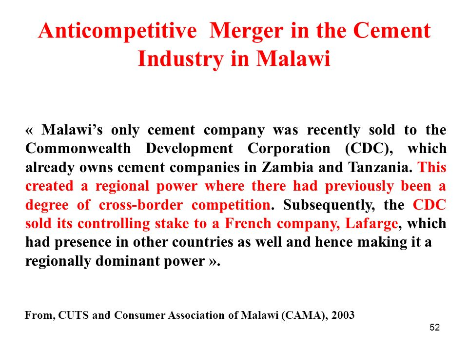 Anticompetitive Merger in the Cement Industry in Malawi