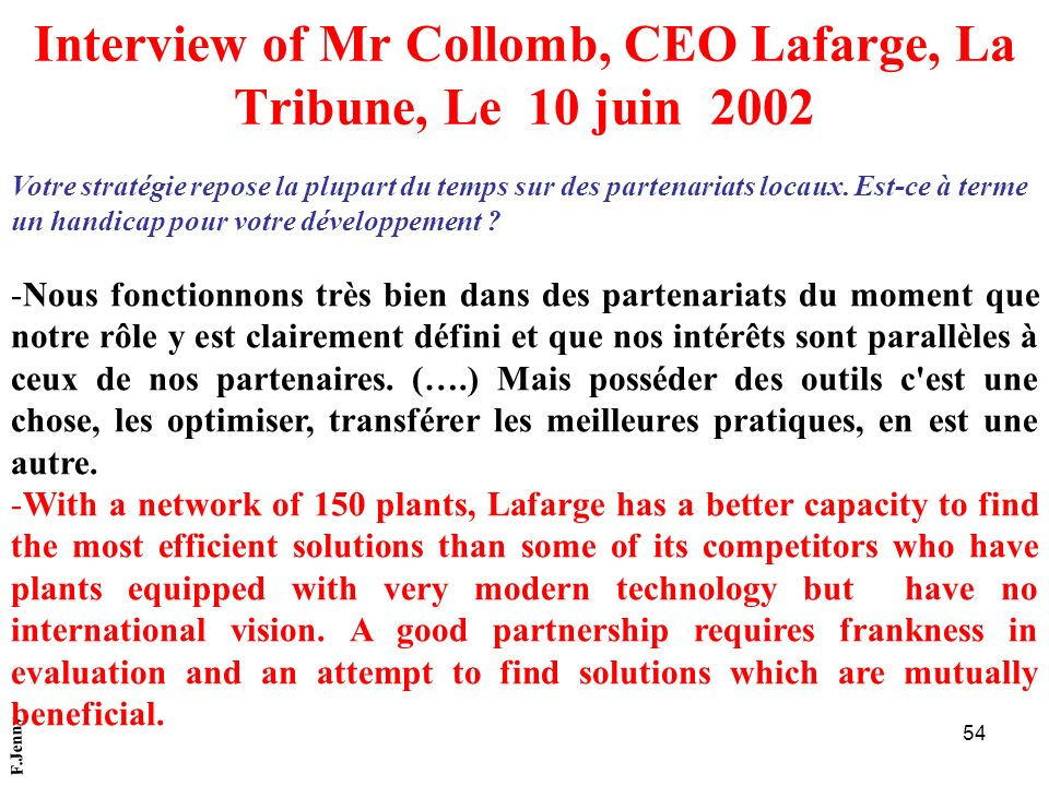 Interview of Mr Collomb, CEO Lafarge, La Tribune, Le 10 juin 2002