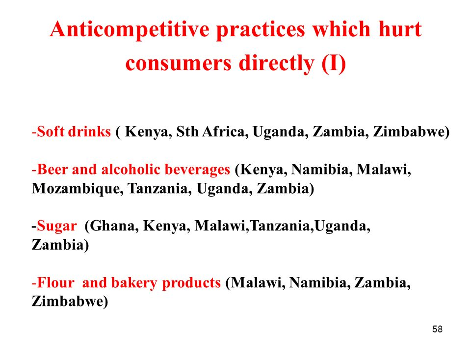 Anticompetitive practices which hurt consumers directly (I)