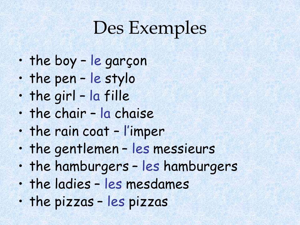 Des Exemples the boy – le garçon the pen – le stylo