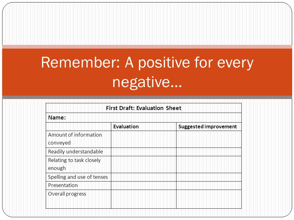 Remember: A positive for every negative…