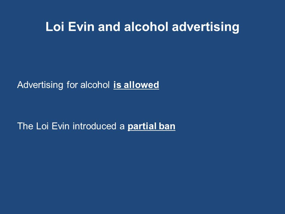 Loi Evin and alcohol advertising