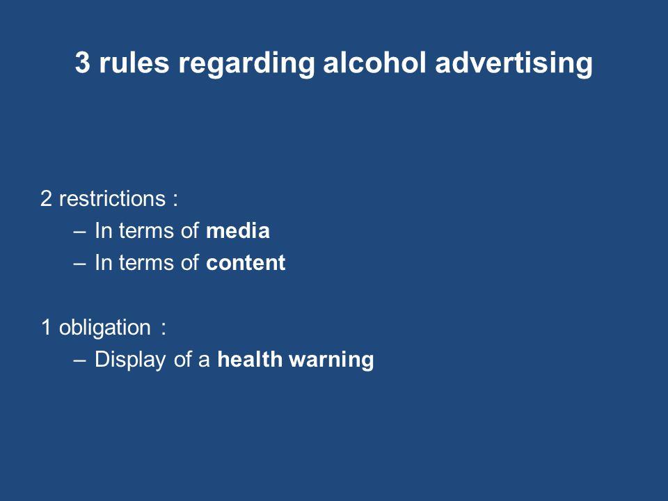 3 rules regarding alcohol advertising