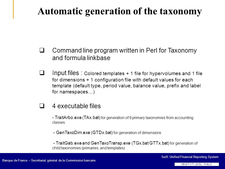 Automatic generation of the taxonomy