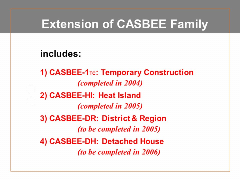 Extension of CASBEE Family