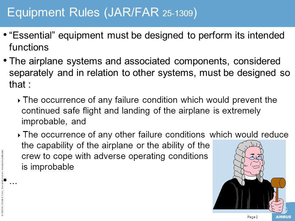 Equipment Rules (JAR/FAR 25-1309)