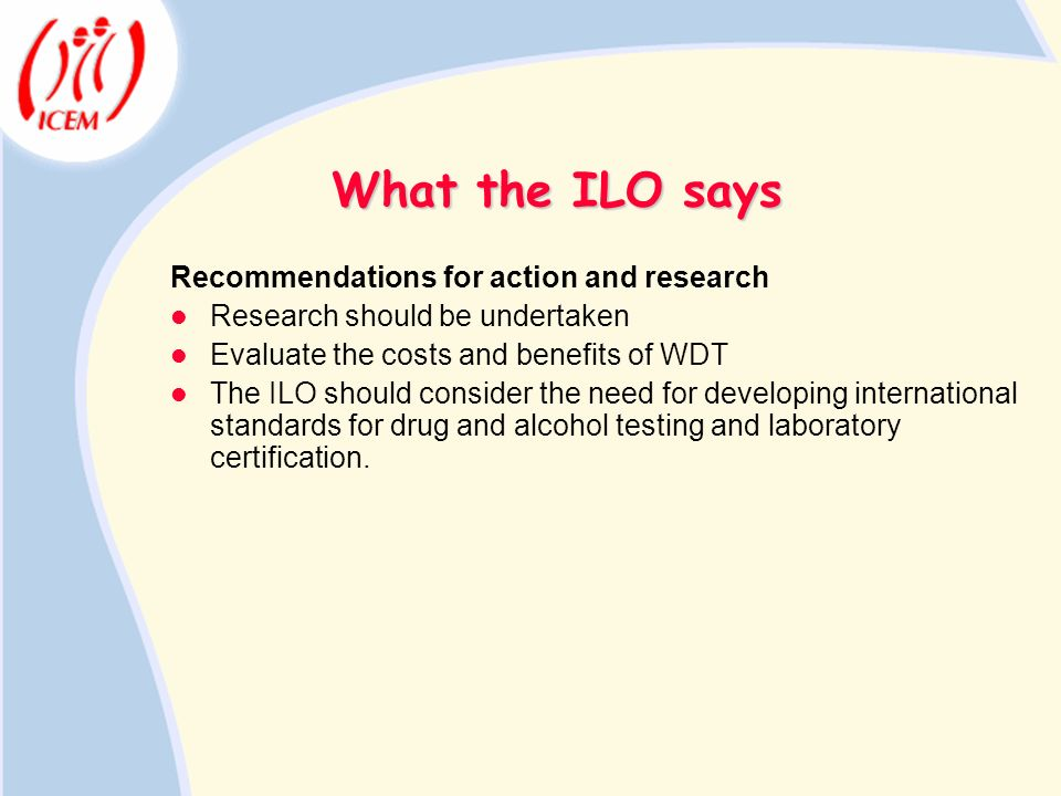 What the ILO says Recommendations for action and research