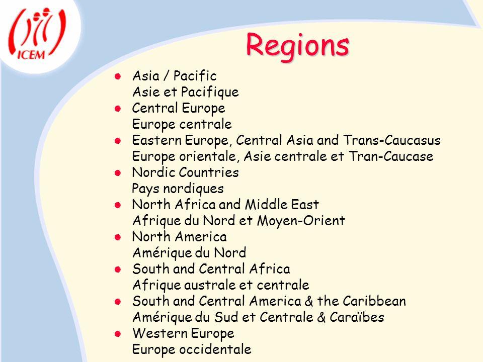 Regions Asia / Pacific Asie et Pacifique Central Europe