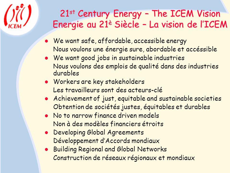 21st Century Energy – The ICEM Vision Energie au 21è Siècle – La vision de l'ICEM
