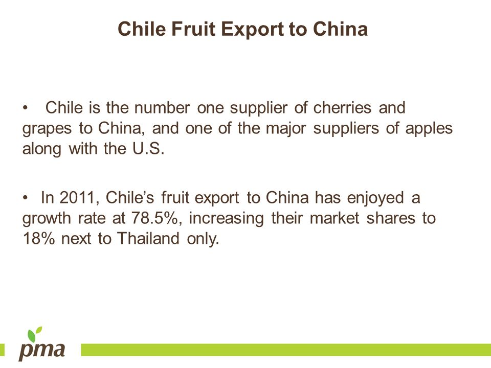 Chile Fruit Export to China
