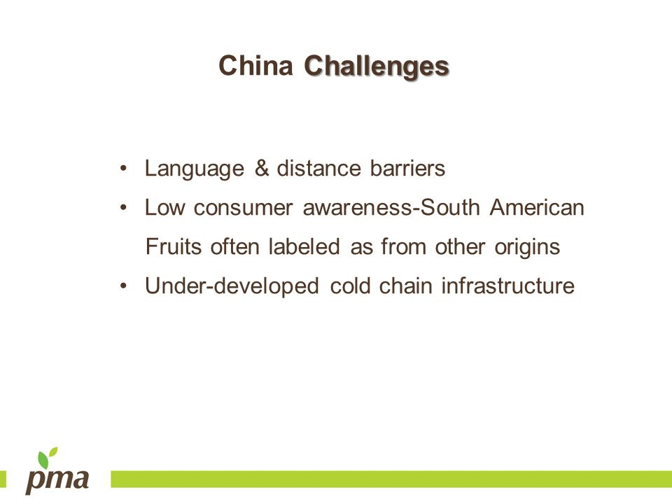 China Challenges Language & distance barriers
