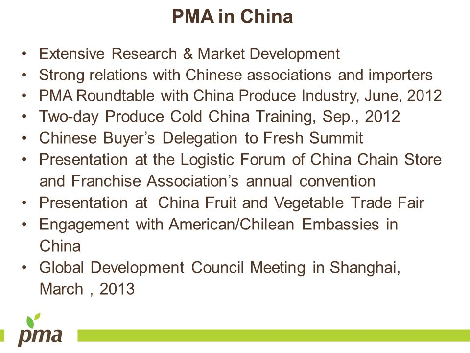 PMA in China Two-day Produce Cold China Training, Sep., 2012