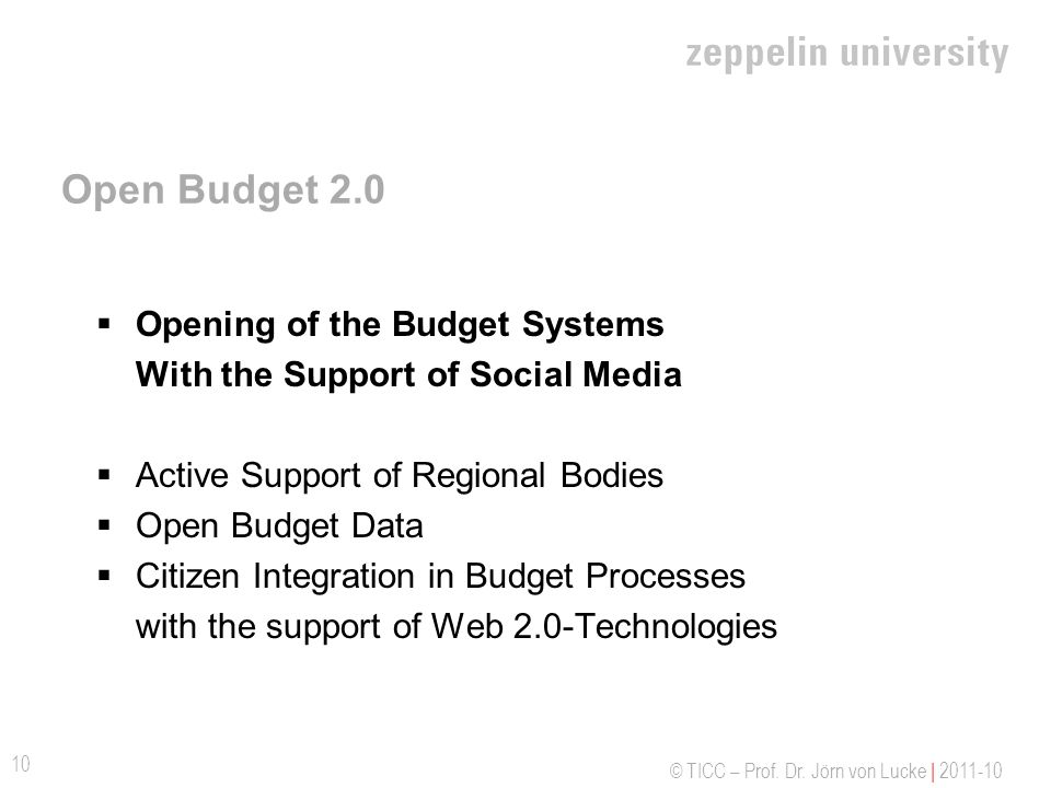 Open Budget 2.0 Opening of the Budget Systems With the Support of Social Media. Active Support of Regional Bodies.