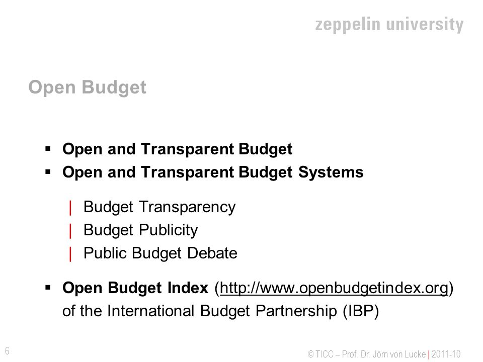 Open Budget Open and Transparent Budget