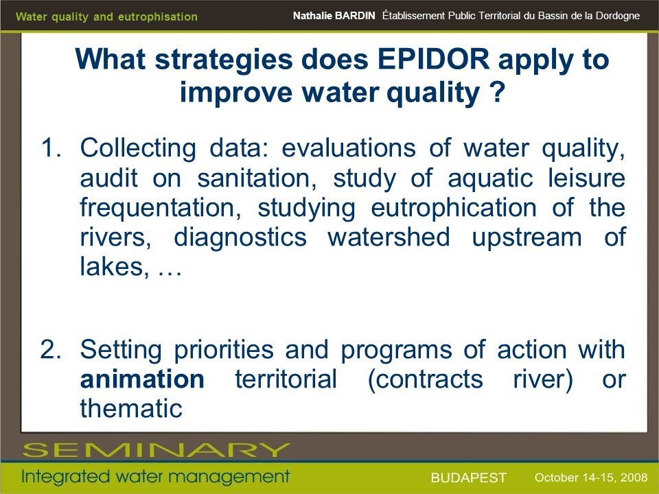 What strategies does EPIDOR apply to improve water quality