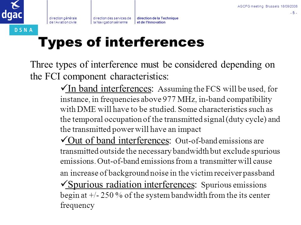 Types of interferences