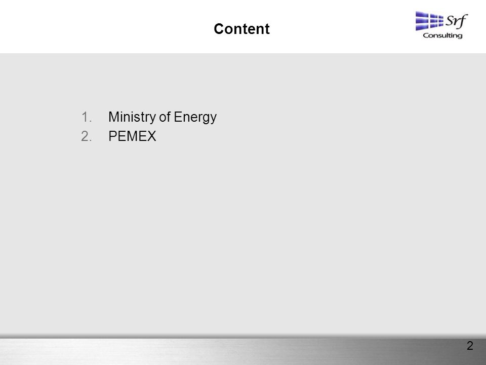 Content Ministry of Energy PEMEX