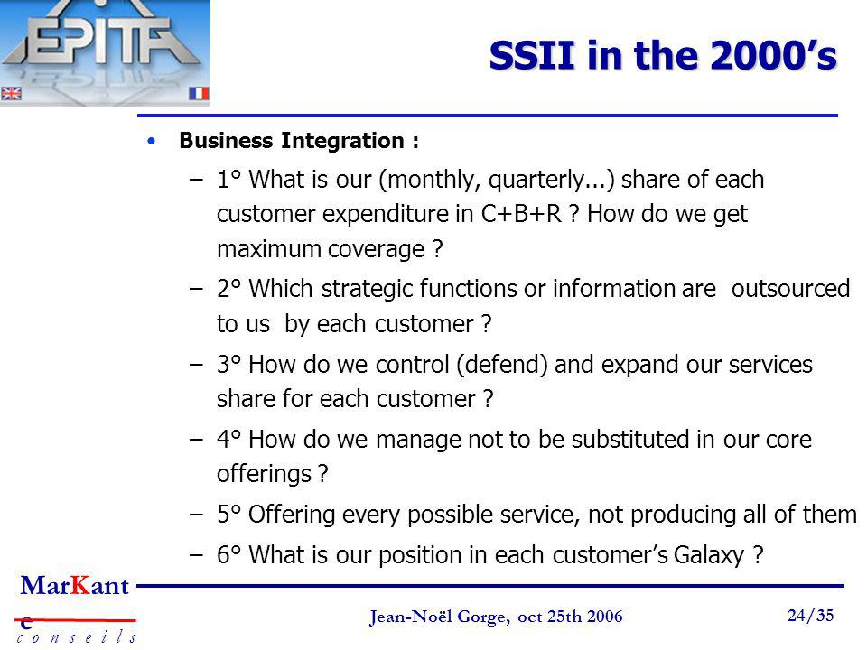 SSII in the 2000's Business Integration :