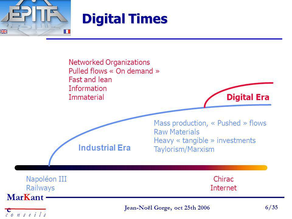 Digital Times Digital Era Industrial Era Networked Organizations