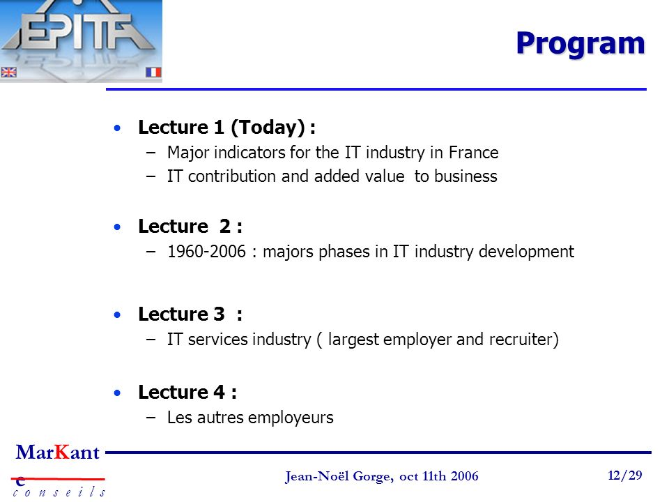 Program Lecture 1 (Today) : Lecture 2 : Lecture 3 : Lecture 4 :