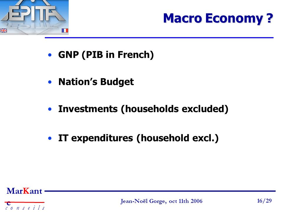 Macro Economy GNP (PIB in French) Nation's Budget