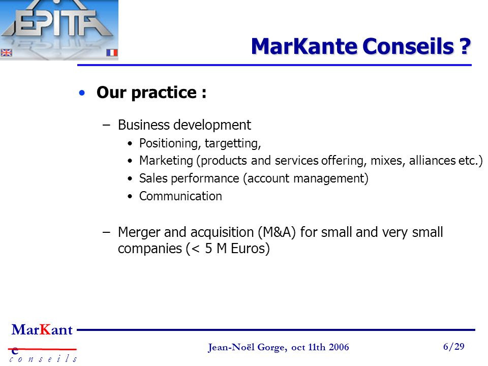 MarKante Conseils Our practice : Business development