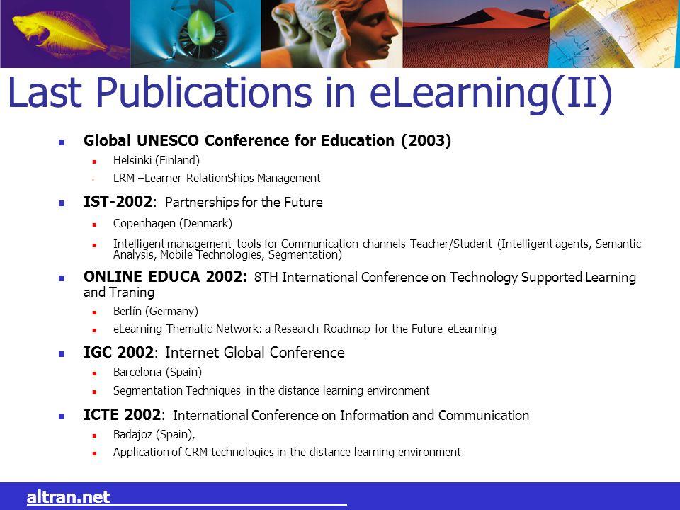 Last Publications in eLearning(II)