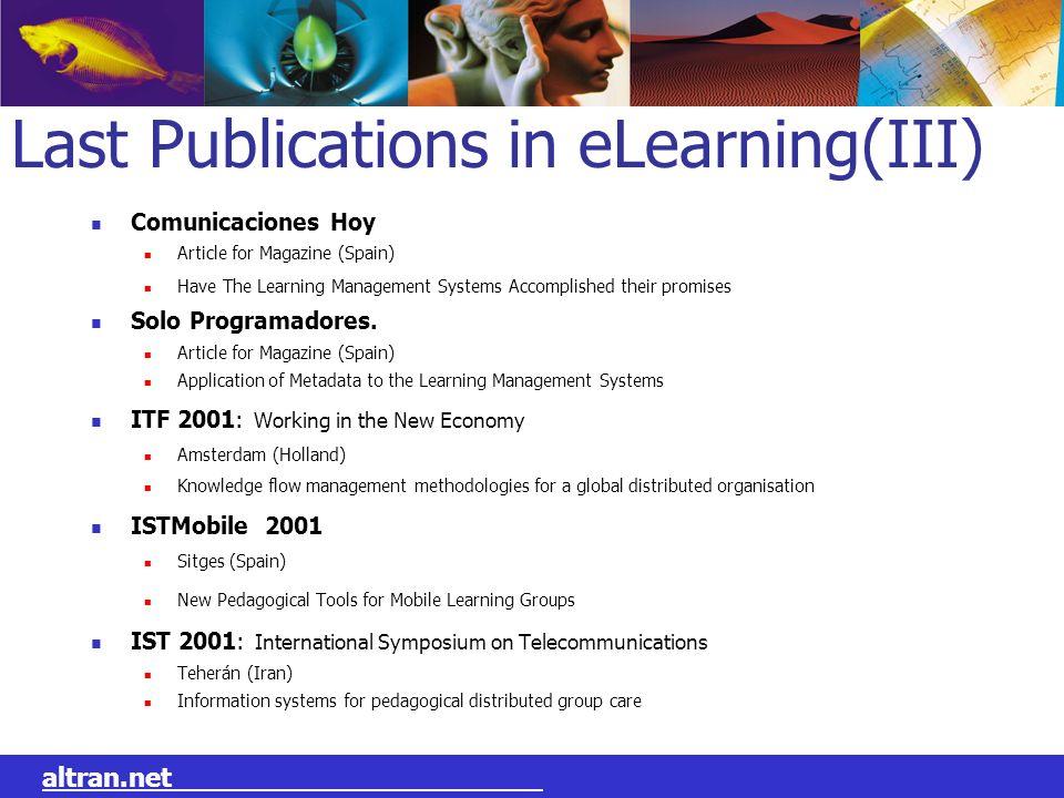 Last Publications in eLearning(III)