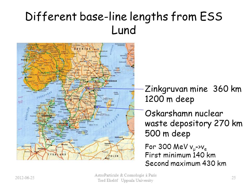 Different base-line lengths from ESS Lund