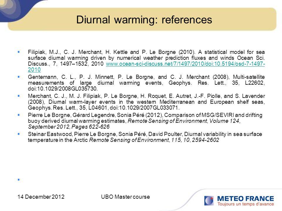 Diurnal warming: references