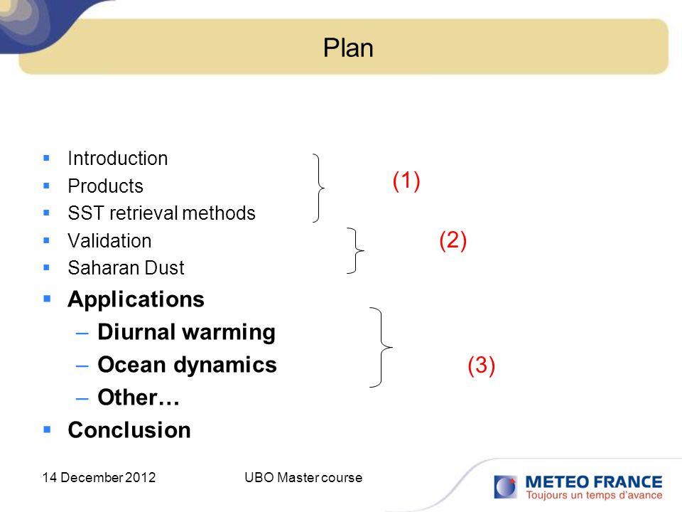 Plan (1) Applications Diurnal warming (2) Ocean dynamics Other…