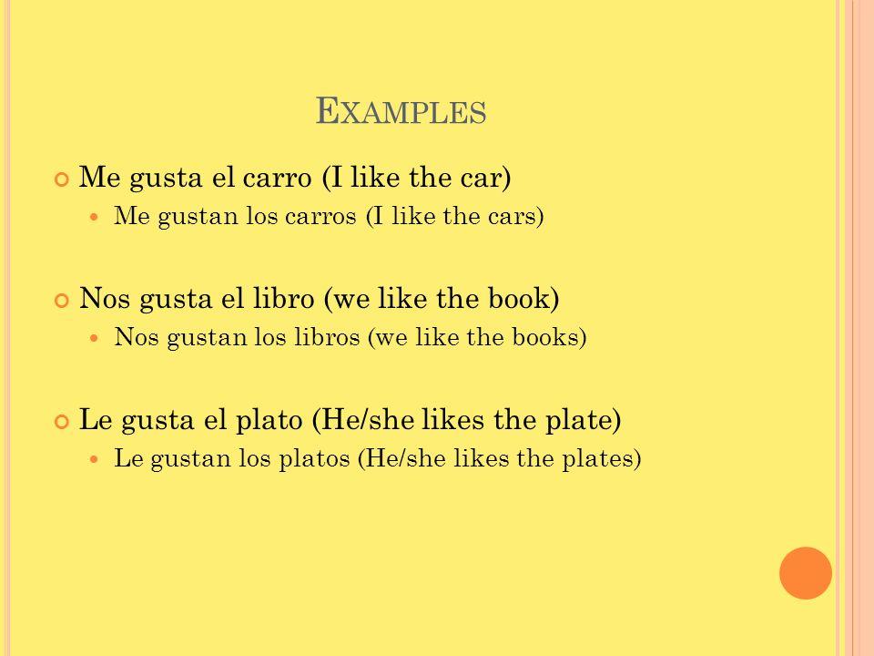 Examples Me gusta el carro (I like the car)