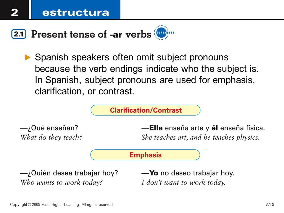 Spanish speakers often omit subject pronouns because the verb endings indicate who the subject is. In Spanish, subject pronouns are used for emphasis, clarification, or contrast.