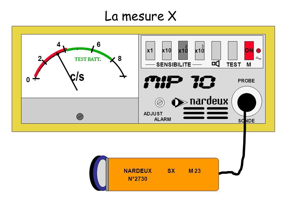 La mesure X c/s 4 6 2 8 2 x10 3 x10 x1 x10 ON TEST BATT. SENSIBILITE