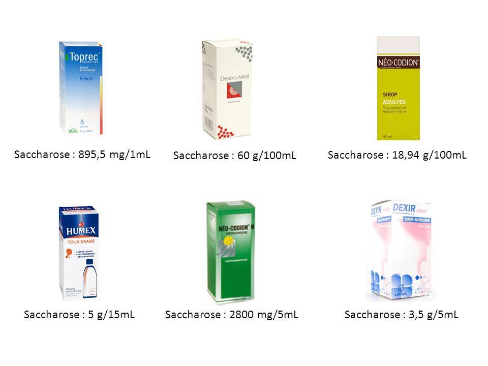 Saccharose : 895,5 mg/1mL Saccharose : 60 g/100mL. Saccharose : 18,94 g/100mL. Saccharose : 5 g/15mL.