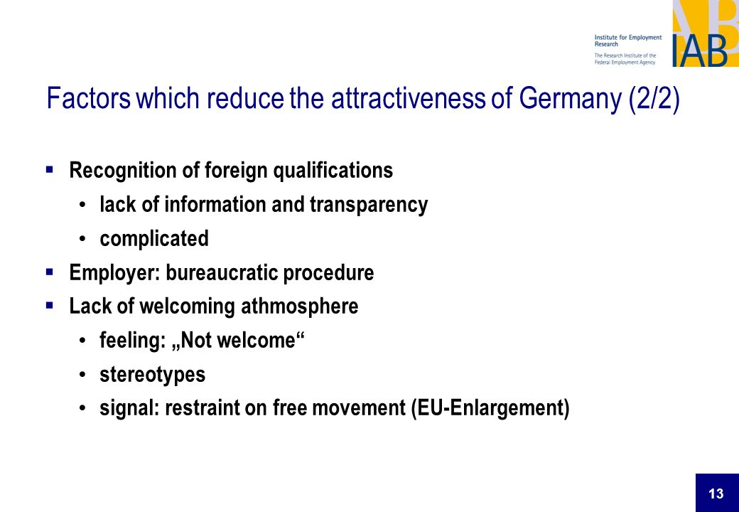 Factors which reduce the attractiveness of Germany (2/2)