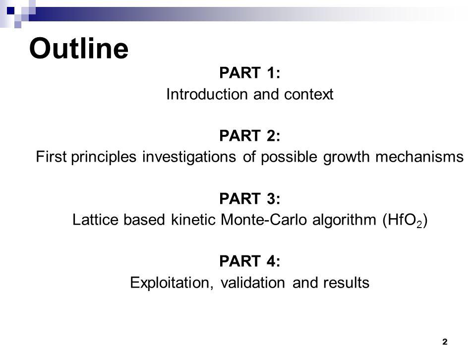 Outline PART 1: Introduction and context PART 2: