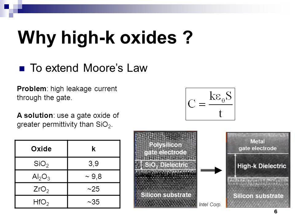 Why high-k oxides To extend Moore's Law