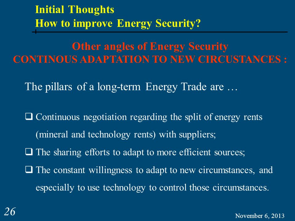 Initial Thoughts How to improve Energy Security